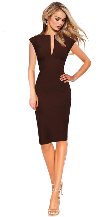Business Kleid Etuikleid KEIRA - Braun | DREZZ2IMPREZZ